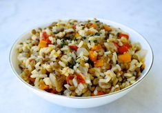 Greek Lentils and Rice-Fakorizo An easy, traditional Greek vegetarian recipe. Rice cooked with vegetables and rice, Flavorful, filling and good for you.