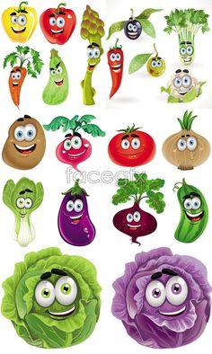 Vegetable cartoon images vector