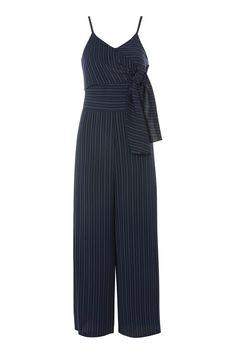 6d05716e18ec Pinstripe Tie Waist Jumpsuit Playsuits