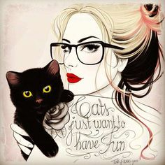 cat / girl / glasses / hair illustration / Tattoo Sketches / Tati Ferrigno by Migle Art And Illustration, Girl Illustrations, Illustration Fashion, Dibujos Tumblr A Color, Ouvrages D'art, Art Design, Tattoo Sketches, Crazy Cats, Hate Cats