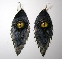 Dragon eye black antiqued leather earrings. Feather earrings. Halloween earrings