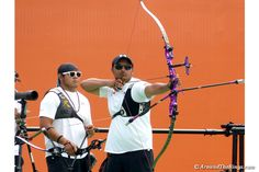 A Mexican archer takes aim during team competition. (ATR)