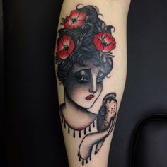 Danielle Rose tattoo Black /white girl with poppies & bird