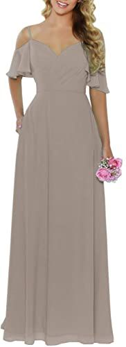New Women's Off The Shoulder Chiffon Bridesmaid Dresses Long Ruched Spaghetti Straps Prom Formal Evening Gown with Pockets. taupe bridesmaid dresses ($69.99) from top store doodeeshopping Taupe Bridesmaid Dresses, One Shoulder Bridesmaid Dresses, Women's Evening Dresses, Ball Gown Dresses, Sexy Backless Dress, Homecoming Dresses, Prom, Short Dresses