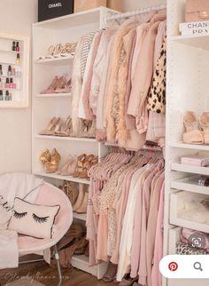 Pink Walk in Closet & Beauty Room Reveal Cute Bedroom Ideas, Cute Room Decor, Girl Bedroom Designs, Room Ideas Bedroom, Bedroom Decor, Wardrobe Room, Room Closet, Pink Wardrobe, Wardrobe Storage