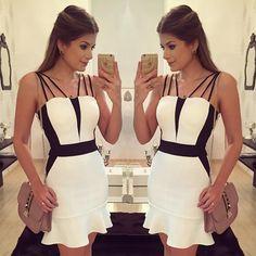 Vestido @queenfashionstoreoficial {Black & White} • #lookdodia…