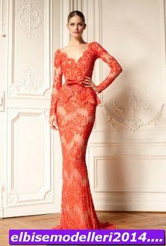 zuhair murad turuncu dantel abiye modeli - 2014 Elbise Modelleri