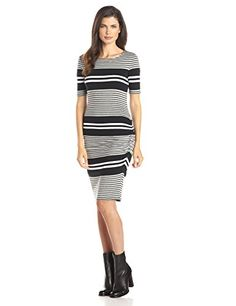 Three Dots Soho Stripe Ruched Dress, Black - http://www.womansindex.com/three-dots-soho-stripe-ruched-dress-black/