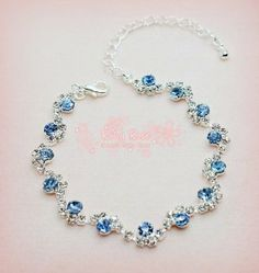 ** RUBY ROSE ** Sunrise Love - Blue Crystal Rhinestones Necklace ~ Fits 18''…