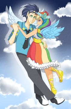 Soarin and Rainbow Dash humanized.