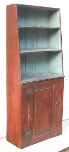 "Queen Anne period single arch moulded canted back New England 1 door cupboard w butterfly hinges & raised panel door - 5'8"" tall x 27 1/2"" wide"