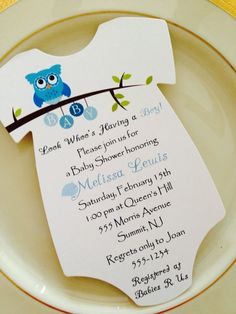 baby shower invitation onesie owl theme for boy printed on matte paper