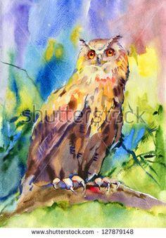 Eurasian Eagle Owl. Watercolor.
