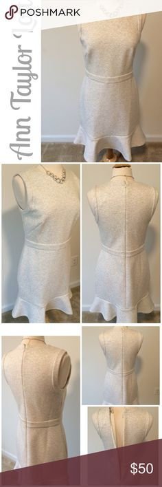 NWT Loft  Scuba dress ⚓Host Pick 2/1/17 Girl Boss party by @fababscloset⚓ NWT  Loft scuba dress in a light cream with gray speckled throughout..zipper back..scuba material..New with tags, only worn to try on.. Measures 17 in flat at bust, 37 in length..58% cotton/ 37% modal/5 % spandex...necklace pictured not for sale ⚓️NO TRADES⚓️ 9/4/17 LOFT Dresses