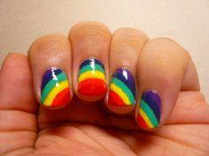 make-up, nails, nail polish, rainbow, stripes, patterns