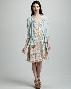 Dainty Georgette Cardigan & Mixed-Print Tank Dress