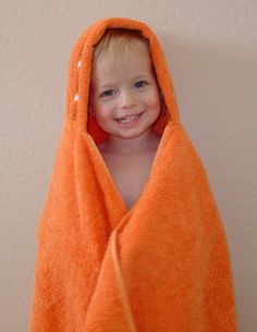 hooded towels for kids. I have done this and love them. No more flimsy, too small hooded towels! Pick your own towels and make them for bigger kids too!