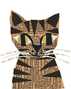 Tabby cat from newspaper, so cute!