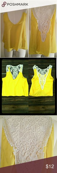 BRIGHT YELLOW TOP  🌞 Bright yellow top with unique back | 100% polyester | Made in Vietnam | ANY QUESTIONS JUST ASK!!! XXI Tops Tank Tops