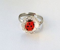 Ladybug Jewelry | Ladybug Jewelry Ring Silver Toned Glass Cabochon by KnitADeeDooDah, £ ...