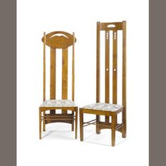 Charles Rennie Mackintosh (design)  Six Oak Highback Chairs, 20th century