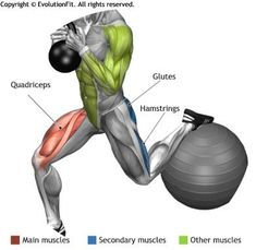 QUADRICEPS -  GLOBET BULGARIAN KETTLEBELL SPLIT SQUAT ON FITBALL