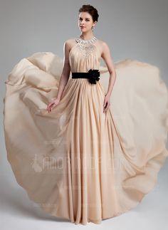 Evening Dresses - $169.99 - A-Line/Princess Halter Floor-Length Chiffon Charmeuse Prom Dress With Ruffle Beading Flower(s) (018019734) http://besthochzeit.com/A-line-Princess-Halter-Floor-length-Chiffon-Charmeuse-Prom-Dress-With-Ruffle-Beading-Flower-S-018019734-g19734