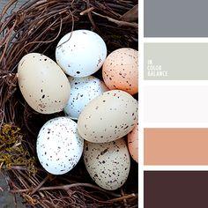 бежевый, контрастное сочетание теплых и холодных тонов, коричневый и черный, кремовый бежевый, оттенки коричневого, оттенки серо-синего цвета, оттенки серого, оттенки сине-серого цвета, палитра цветов для декора стола в праздник Пасхи, палитры