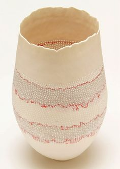 Cheryl Malone Stratified Vessel with Red and Grey, 2010, 24x14cm.