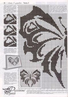 """Photo from album """"Дуплет on Yandex. Thread Crochet, Filet Crochet, Crochet Motif, Diy Crochet, Butterfly Cross Stitch, Crochet Butterfly, Knitting Stitches, Knitting Patterns, Crochet Patterns"""