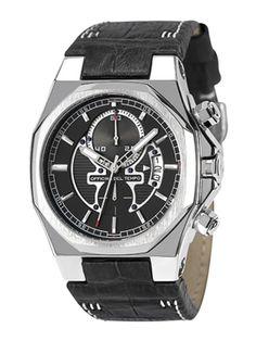 Reloj Officina del Tempo Race Cronógrafo con esfera negra y correa piel antialérgica negra. http://www.tutunca.es/reloj-race-crono-negro
