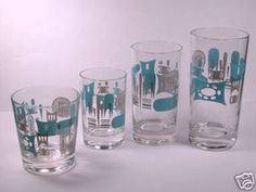 "My most favorite mid century modern china made in the 1960's ""Blue Heaven"" glassware by Royal China."