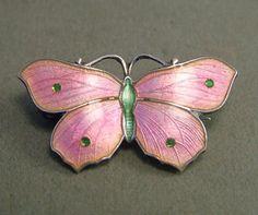 Beautiful Silver & Pink Enamel Butterfly Brooch JA & S | eBay