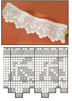 filet crochet edging. Could be made into curtains by continuing in the filet mesh to width needed.