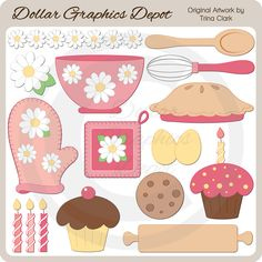 Baking Day 2 Clip Art, by Trina Clark - Only $1.00 at www.DollarGraphicsDepot.com : Great for printable crafts, web graphics, scrapbook pages, greeting cards, recipe cards / journals, menu boards, bake sale labels, bag toppers, and much more!