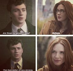 Too cute ~ Aaron Johnson and Karen Gillan as Lily and James