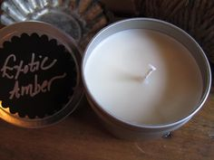 Pure Soy Candle Exotic Amber Reusable Metal Tin by JuneApothecary on Etsy