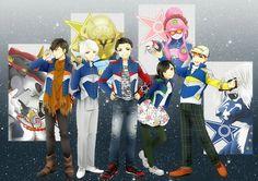 The KyuuRanger team in anime style
