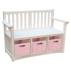 """Guidecraft Classic Storage Bench with Baskets - White $147  Dimensions: 27.0 """" H x 34.5 """" W x 14.5 """" D  Weight: 36.0 Lb.  Compartment Dimensions: 7.5 """" H x 8.0 """" W x 14.0 """" D  Storage Bin Dimensions: 6.5 """" H x 8.0 """" W x 12.0 """" D"""