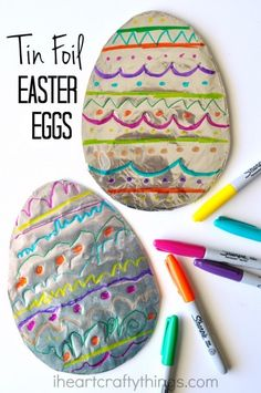 This tin foil Easter egg art is vibrant and colorful and it& great for children to let their creativity shine by creating a unique design on their egg. It makes a great Easter kids craft for toddlers, preschoolers and kids of all ages. Easter Art, Easter Crafts For Kids, Toddler Crafts, Easter Eggs, Easter Activities, Craft Activities, Easter Ideas, Mason Jar Crafts, Mason Jar Diy