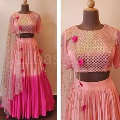 Pink Shaded Georgette Party Wear Lehenga Choli With Dupatta Indian Skirt, Dress Indian Style, Indian Fashion Dresses, Indian Designer Outfits, Indian Outfits, Indian Designers, Lehenga Choli Wedding, Pink Lehenga, Party Wear Lehenga