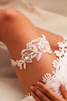 Bridal Pearls Beaded Flower Lace Garter Wedding by NAFEstudio