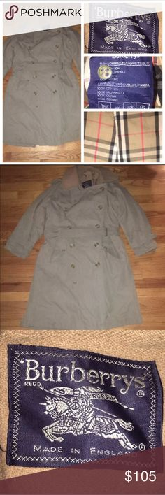 Vtg Burberry Nova Check Trench Cost Size 44 Short This listing is for a Burberrys Men's Trench Raincoat Double Breasted Button Wool Lining Size 44 Short  It's belted made from cotton Chest is 44in Length is 41.5in I take offers   Made in England  Great condition could used a ironing  Some wear on the leather on the cuff belts Burberry Jackets & Coats Trench Coats