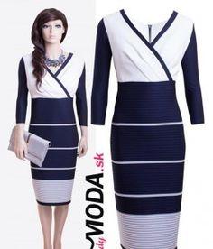Bielo-modré spoločenské šaty vhodné na svadbu, promócie, oslavu a iné spoločenské akcie - trendymoda.sk