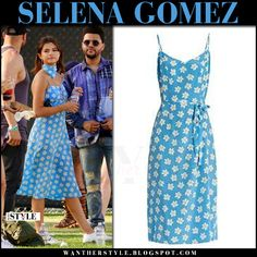 Selena Gomez in light blue floral print midi dress and white sneakers