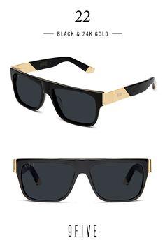 #BlackandGold 9FIVE Men's 24K Sunglasses
