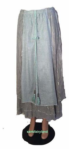 Pretty Angel Size M Aqua (Seafoam Green) Tassel Skirt Layers of Lace 27146AQ #PrettyAngel #PeasantBoho