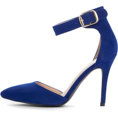 Agyness Cobalt Suedette Ankle Strap Stiletto ($23) ❤ liked on Polyvore featuring shoes, pumps, pink, sexy stilettos, sexy pink pumps, suede shoes, heels stilettos and suede ankle strap pumps
