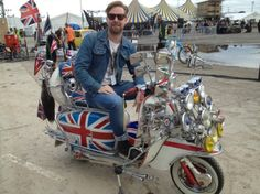 Ricky Wilson of the Kaiser Chiefs on mod scooter