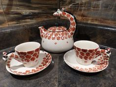 Your place to buy and sell all things handmade African Giraffe, Antique Pottery, Tea Set, Cup And Saucer, 1980s, Tea Party, Tea Cups, Porcelain, Hand Painted